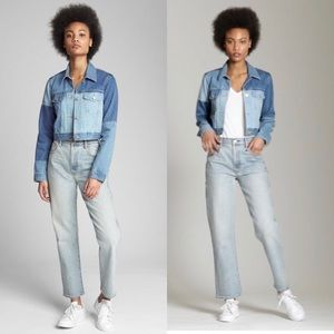 GAP Crop Patchwork Denim Jacket